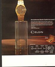 VINTAGE AD SHEET #2080 - ELGIN QUARTZ CRYSTAL WATCH - YELLOW - STAINLESS STEEL