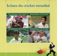 Chad Sports Stamps 2020 MNH Cricket Brian Lara Shane Warne Kevin Pietersen 4v MS