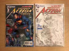 Action Comics 1 New 52 Jim Lee Variant 2011 Sketch Variant Signed Superman