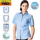 Women Cotton Rich CVC Shirts Blue Top Blouse short sleeves Business Casual fit