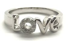 Sterling Silver Diamond Circle Pave Love Word Elegant Cocktail Band Ring Size 8