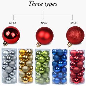 24/48Pcs Glitter Christmas Baubles Xmas Tree Ornament Hanging Ball 3cm DIY Decor