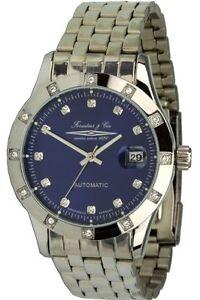 Forestier & Cie Unisex-Automatikuhr silber/blau Zirkoniasteine Armbanduhr