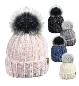Ladies Designer Rock Jock Chenille Fleece Lined Faux Fur Bobble Pom Pom Hat UK
