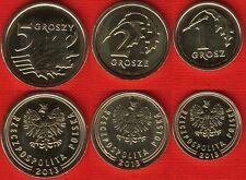 Poland set of 3 coins: 1-5 groszy 2013 UNC