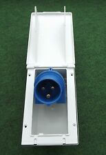 MAINS 230V 16A FLUSH HOOK UP SOCKET WHITE CARAVAN MOTORHOME CAMPER RECTANGULAR