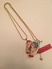 Betsey Johnson Crystal PINK Santa Claus WITH BLUE SANTA BAG necklace-BJ6620