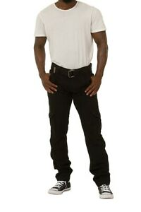 Men's Black Combat Trousers with Cargo pockets and Belt - Waist 38 (giles)