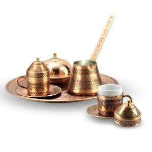 Coffee Set Ottoman Turkish Saucer 2 Person Tumbled Grape Processing Copper set