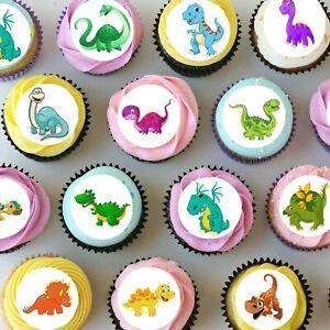 Dinosaurs Pre-cut Mini Edible Icing Cupcake or Cookie Toppers