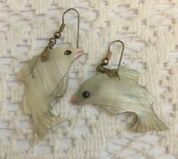 WHITE MOTHER OF PEARL CARVED DOLPHIN DANGLE EARRINGS 80's VINTAGE