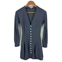 Olympia Le-Tan Womens Dress Size 36 AU 6 Blue Long Sleeve Button Closure V-Neck