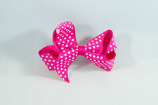 Unit of 10 Medium 3 Inch Fuschia with Small White spots Hair Bow clip Grosgrain