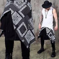 NewStylish Mens Casual Fashion Jacquard patterned asymmetric wrap skirt