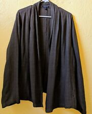Eileen Fisher Green L/S Open Front Cover Up with Pockets Women's 2X VGC!!!