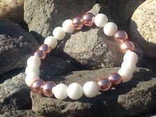 Armband Edelstein Kugeln Perlen Jade (Weiß) Hämatit Hematit Rose Stretch 8mm