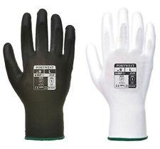 12 x Portwest A129 PU Palm Coated Work Wear Gardening Gloves - Black/White