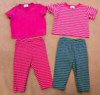 Hanna Andrrsson 90 Pink Green Lot Stripes Girls Tshirts Capris