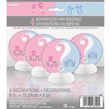Gender Reveal Baby Shower 4 X Honeycomb Decorations 47399