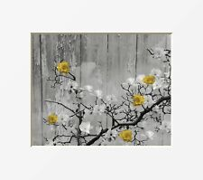 Yellow Home Decor Wall Art Picture,Yellow Flowers, Rustic Modern Photo Artwork