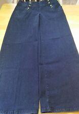 DG2 Diane Gilman Women's Low rise Wide Leg Dark Wash Sailor Pants Jeans Sz 4P