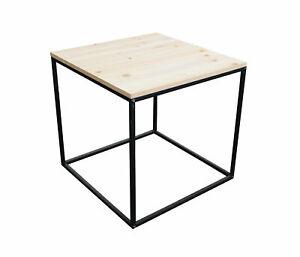 Metall Beistelltisch mit Holz Tischplatte - Deko Tisch Couchtisch Sofatisch