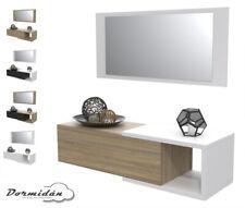 Recibidor con cajón + espejo, varios colores, mueble colgante con estante