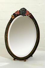 Dusx Barbola Floral Handpainted Oval Bevelled Decorative Table or Wall Mirror 36