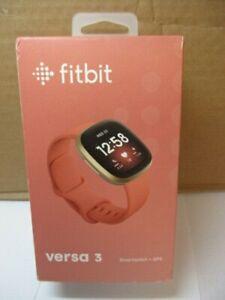 Fitbit Versa 3 Smartwatch + GPS (Gold Aluminium & Pink Clay) NEW