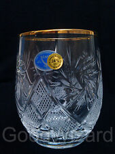 Russian European Cut Crystal Glasses Gold Rimmed 200 ml Scotch,whisky set of 6