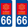 Département 66 sticker 2 autocollants style immatriculation AUTO PLAQUE