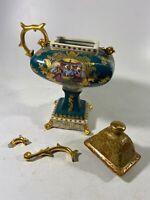 Antique Fine Porcelain Lidded Vase - Handle BROKEN!