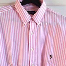 POLO RALPH LAUREN MEN'S L/S COTTON STRIPED DRESS SHIRT PINK WHITE 4XLB BIG 4XL