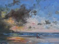 Richard Blowey Original Oil Painting Couple On The Beach Cornwall (Cornish Art)