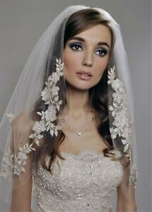 Women Ivory Bride Wedding sequin Pearl 2 layer Wedding Hair head Veil WITH COMB