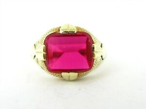 Antique Edwardian 14k Yellow Gold Ruby Mens Gents Ring 8.5g