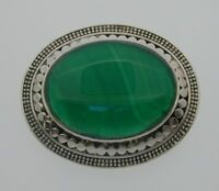 Vintage Sterling Silver & Green Agate Brooch Pin 42 mm 20 grams 1993