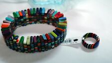 and Ring Brazil Import Sobral Multi Colored Stretch Bracelet
