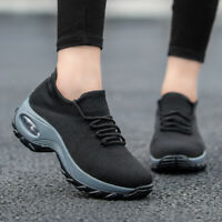 Womens Sneakers Slip On Air Cushion Mesh Knitted Breathable Casual Walking Shoes