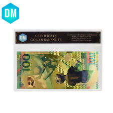 2018 Soccer World Cup Colorful Gold Banknote 100 Ruble Bill with Plastic Case