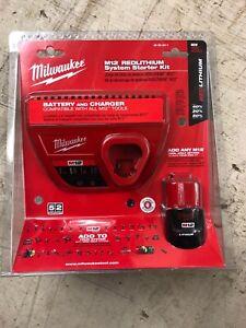 Milwaukee Charger + 1.5Ah 12V Starter Kit Brand New in Box    Part#: 48-59-2411