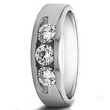 Natural 14K Solid White Gold Mens Band 0.35 Ct Genuine Diamond Engagement Ring