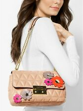 NWT! Michael Kors Leather Flora Applique Sloan Shoulder Bag in Oyster