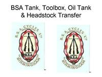 BSA Piled Arms Garter Style Oil Tank Toolbox Transfers Decals Waterslide