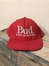 Vintage Bud King of Beers Snapback Trucker Mesh Hat Red Nascar Budweiser Racing