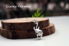 Adorable 3D Monkey Fishing Moon 925 Sterling Silver Pendant Necklace