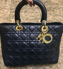 "Christian Dior ""Lady Dior"" Navy Leather Cannage Bag"