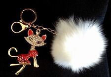 Swarovski Crystal Fashion Fox Charm With Real Fox Fur Ball Key Chain Purse Charm