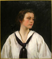 Oil painting joseph rodefer de camp - nice young girl sally in white cloth art