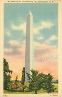 Linen Postcard Da732 Washington DC Cancel 1946 Washington Monument Street View